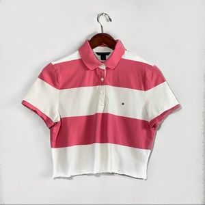 TOMMY HILFIGER STRIPED COLLARED CROP TOP